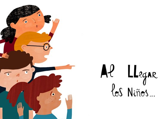 Children's illustration of kids pointing by Ana Seixas