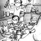 Garry Parsons Dragonsitter's Party News Item inside artwork